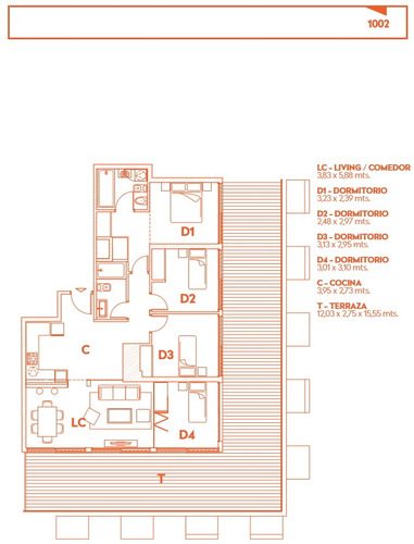 venta de apto 4 dormitorios, 2b. en centro sur - alma corso!