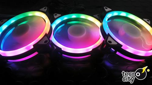 ventilador gamer fan cooler rgb kit x3 + controladora tcy