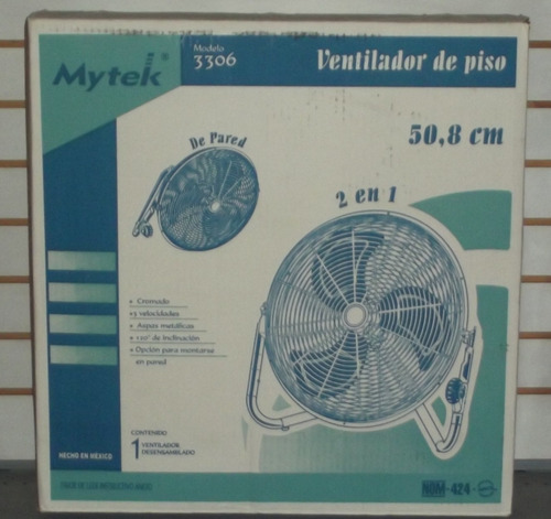 ventiladores mytek de piso 20   aspas acero industrial 3306