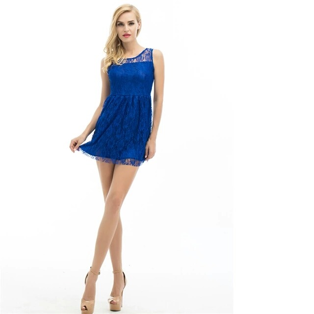 ad87ebff1 Vestido Corto Azul Con Encaje Talle S. Entrega Inmediata -   690