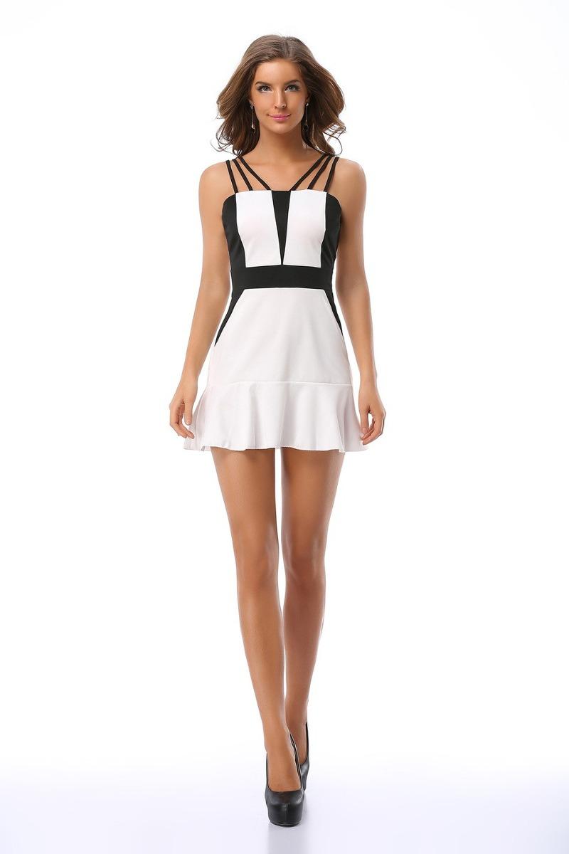 5c0c42dfe9 vestido corto blanco y negro para dama (por encargue). Cargando zoom.