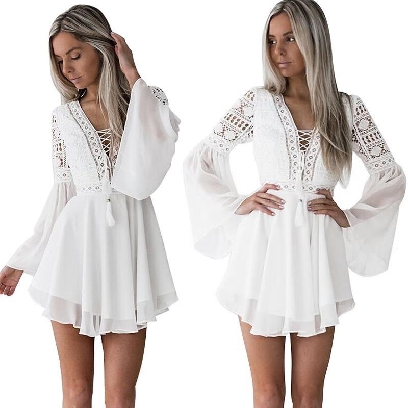Vestido Corto Manga Larga Blanco Cod Ve 48 Por Encargue