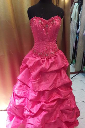 vestido de 15 rosa fucsia 1 uso, importado de eeuu: