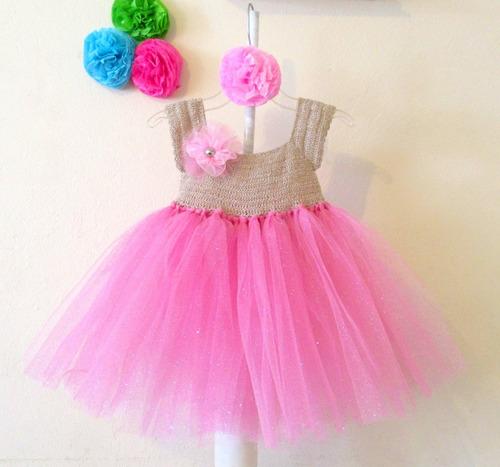 vestido de crochet con tul niña talla 2 años envío gratis