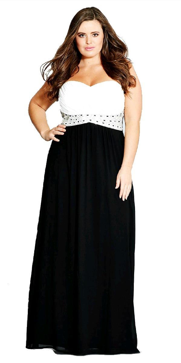 Vestido de fiesta blanco con negro