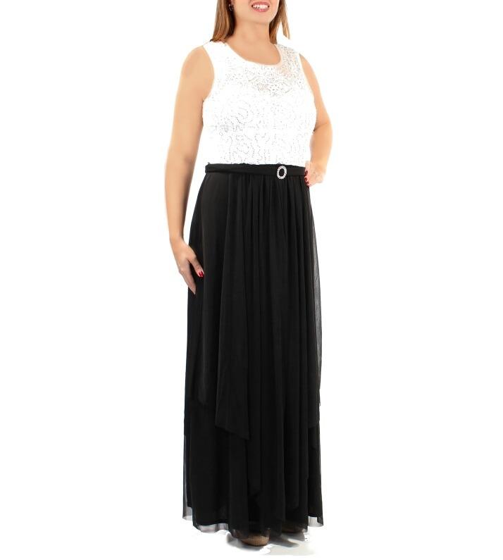 Vestidos largos blanco con negro