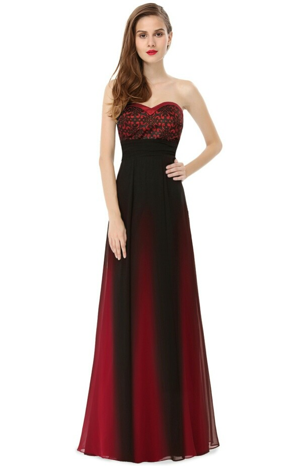 Vestido largo negro rojo