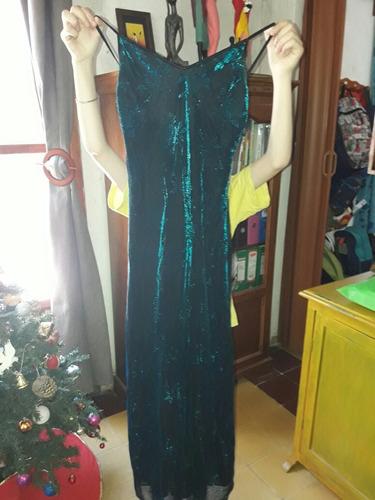 vestido de fiesta, talle s, poco uso, de gasa forrado!!!