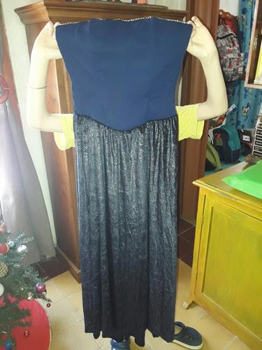 vestido de fiesta talle s, un solo uso! único con telas imp