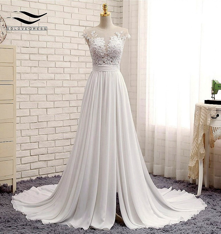 vestido de novia encaje transparencia tajo venta por encargo