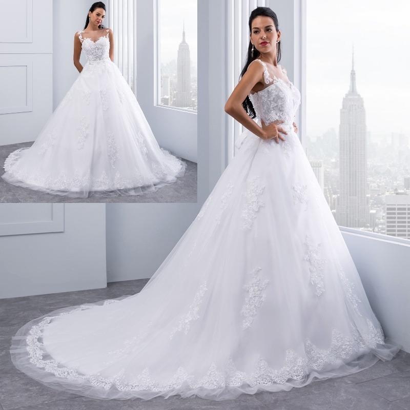 vestido de novia encaje tul y piedras cola venta por encargo