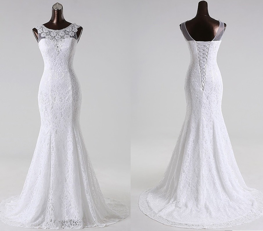 vestido de novia sirena encaje bordado cola solo por encargo
