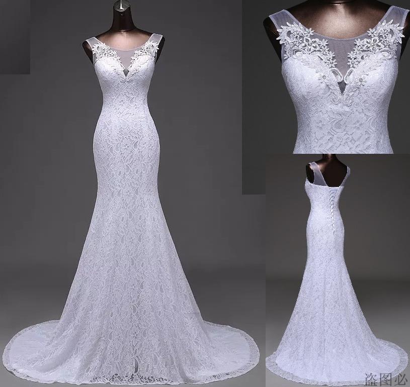 vestido de novia sirena encaje bordado solo por encargue - $ 11.000