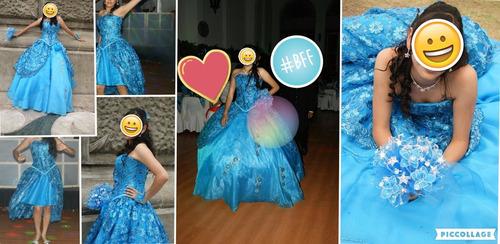 vestido de xv años azul turquesa