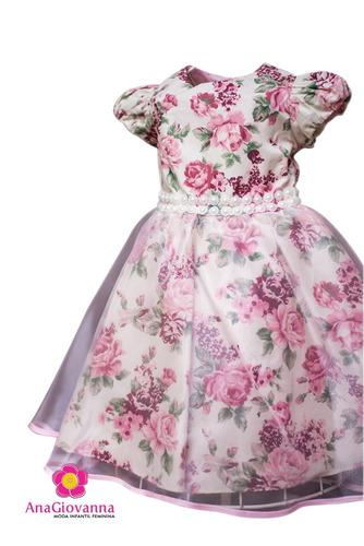 vestido festa infantil floral princesa luxo daminha