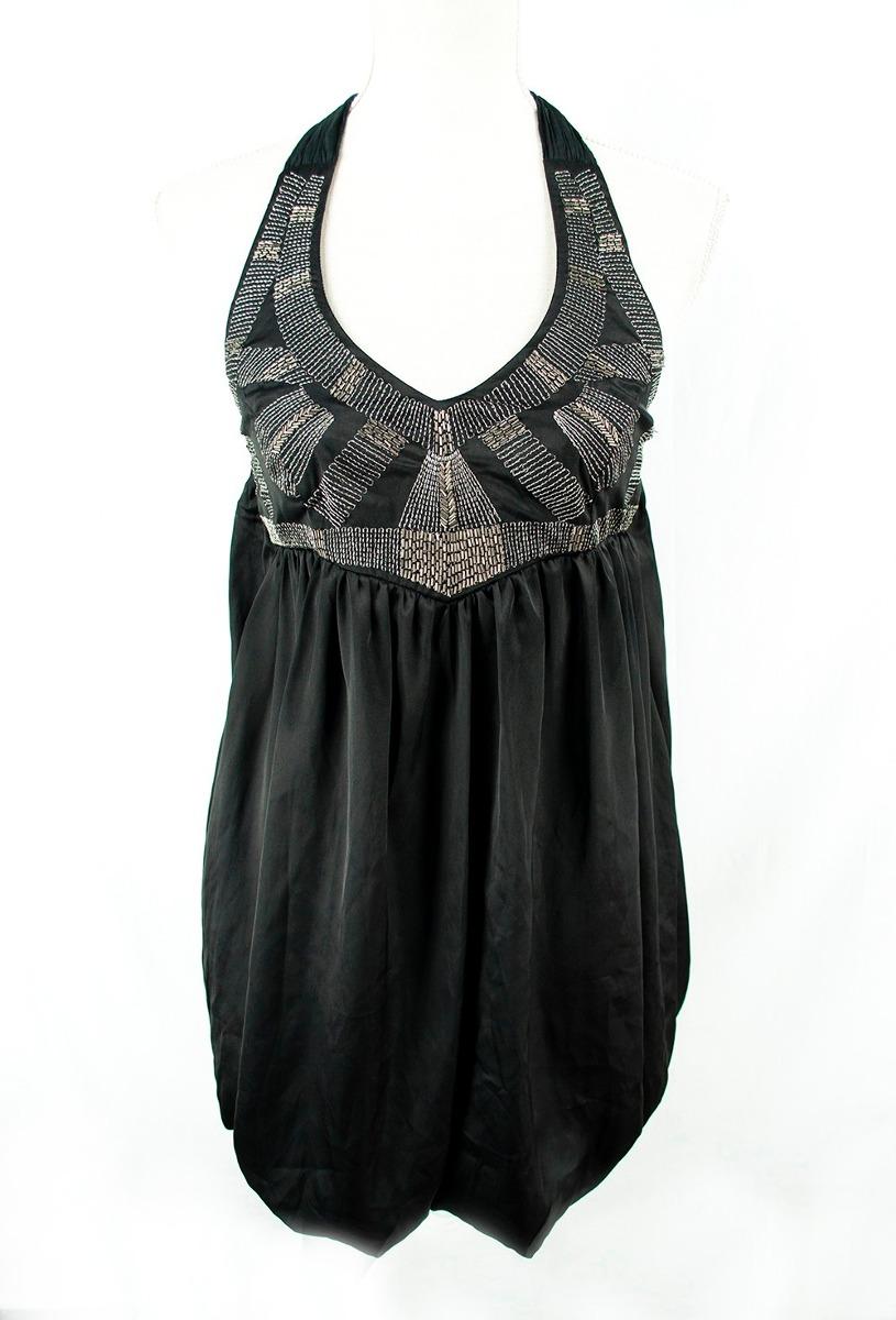 Vestido negro bordado zara