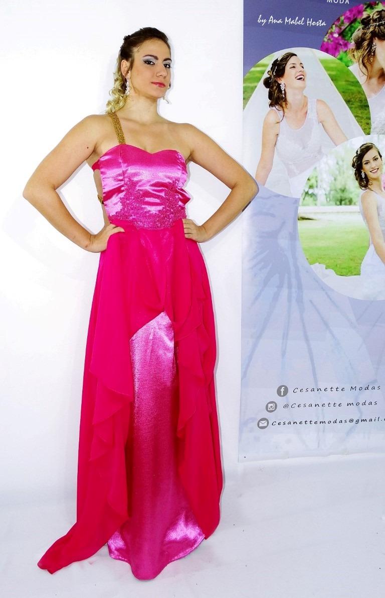 Super baratas patrones de moda venta profesional Vestido Fucsia Con Dorado - Largo - Cesanette Moda