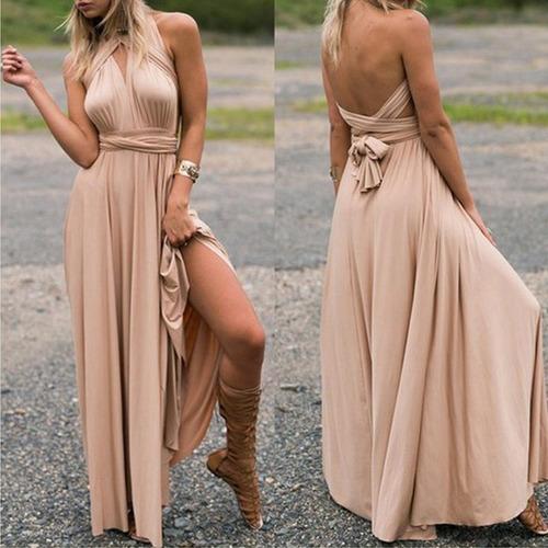 vestido largo 15 posturas diferentes - beige |por encargue|