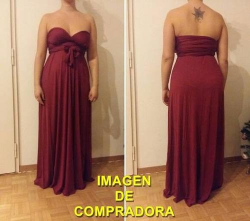 vestido largo 15 posturas diferentes - bordó |por encargue|