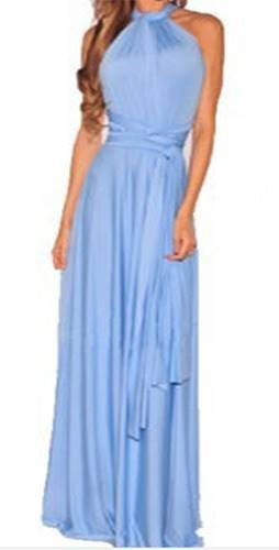 vestido largo 15 posturas diferentes - cielo |por encargue|