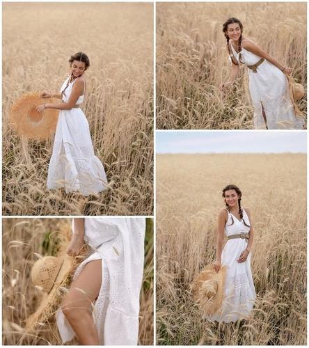 vestido largo de verano con perlas blanco ve50 |por encargue