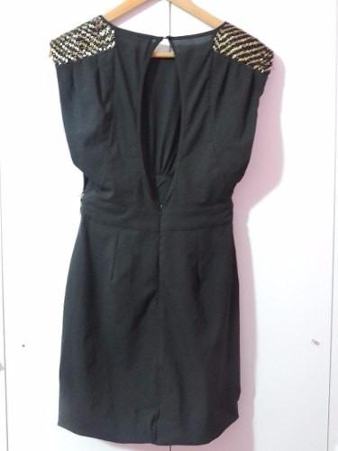 Vestido rapsodia negro y dorado