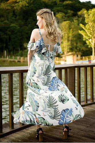 vestido longo estampado velao colecao nova