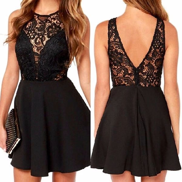 Vestido negro con espalda al aire