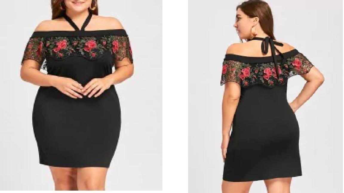 Vestido Negro Encaje Rojo Xl Talle Grande Especial