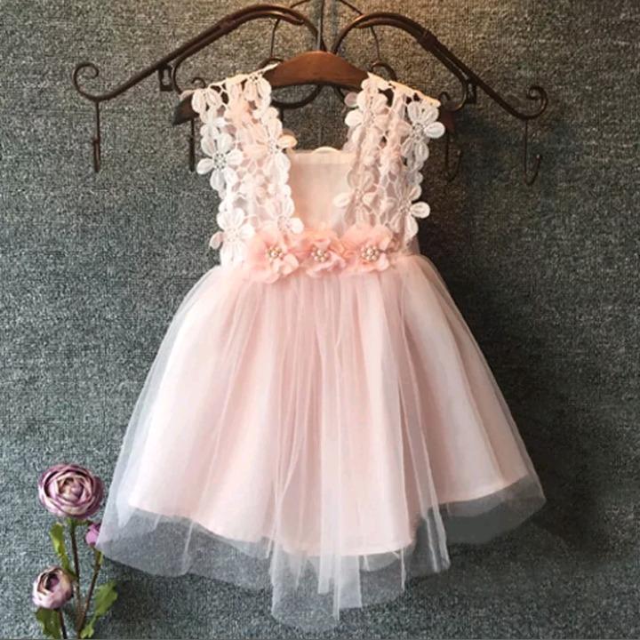 7fe11d155 Vestido Niña Fiesta Rosa Tul Perlas Encaje Talle 1-2 Nuevo - $ 800 ...