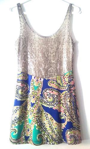 vestido plateado con falda estampada, nuevo