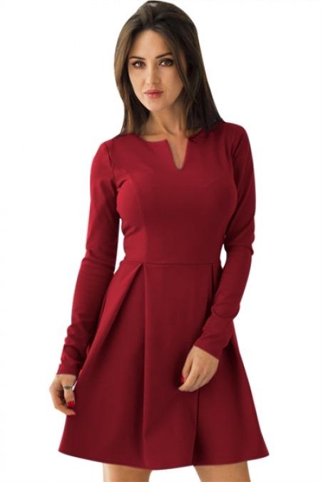 Vestido Rojo Evasé Manga Larga Vestidos Cortos Br3497cb1