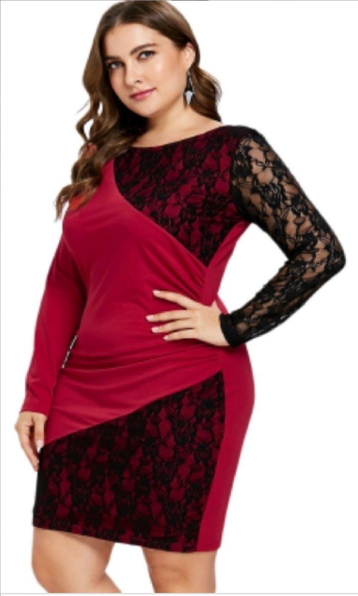 Vestido Rojo Y Negro Encaje En Licra 23xl Grande Especial