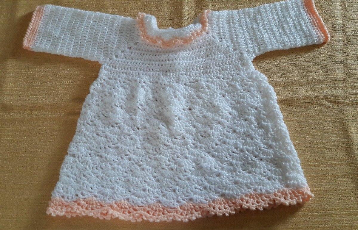 Vestido Tejido A Mano En Crochet Para Bebé Ves Bs