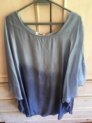 vestido tits azul, seda italiana talle único.sin uso, divino