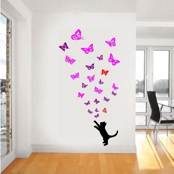 Vinilo decorativo pared gato con mariposas 110x210cm jota 800 00 en mercado libre Mariposas decorativas ikea