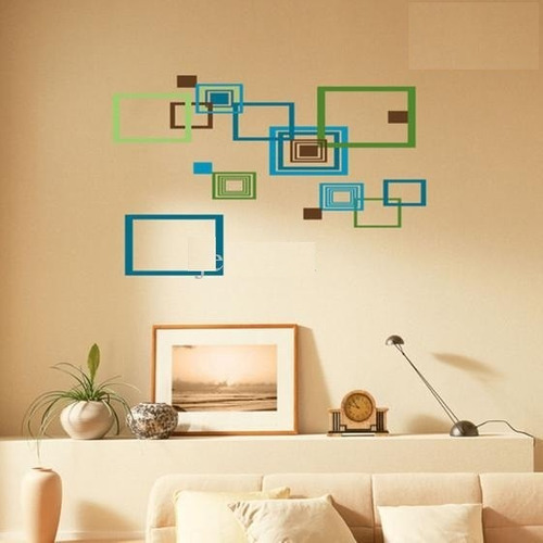 vinilos adhesivos decorativos - cuadrados tonalidades verdes