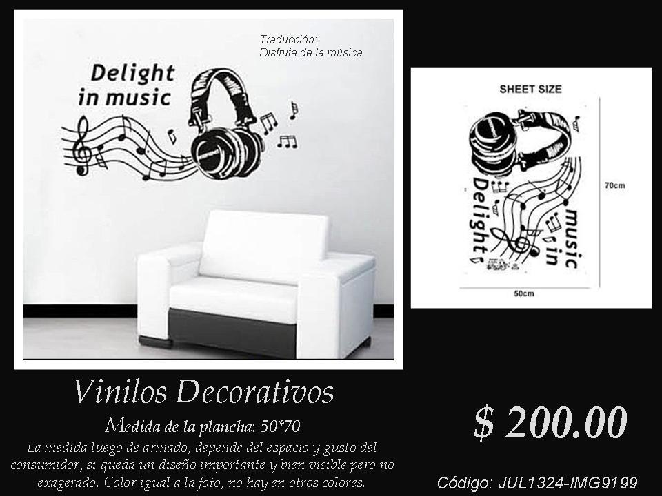 Vinilos Decorativos Audífonos Y Notas Musicales Con Leyenda 200