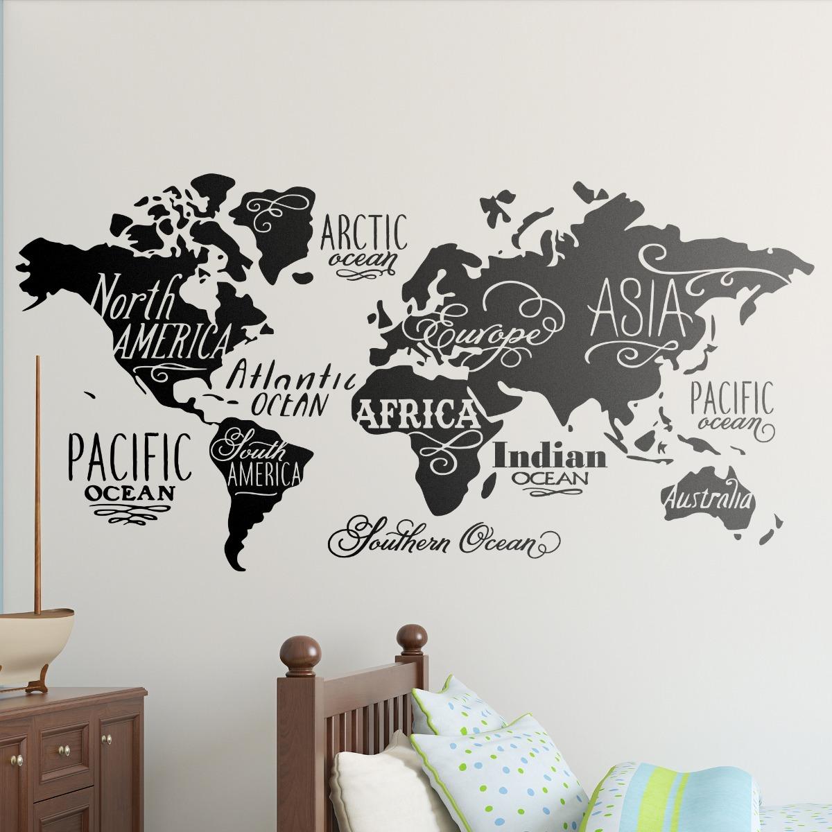Vinilos decorativos de pared mapa mundo 120cm de largo - Vinilo de pared decorativos ...