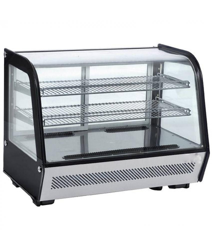 vitrina sobre mostrador vidrio curvo refrigerada negro