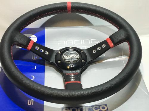 volante deportivo tuning racing sparco negro+ rojo vsdn-824