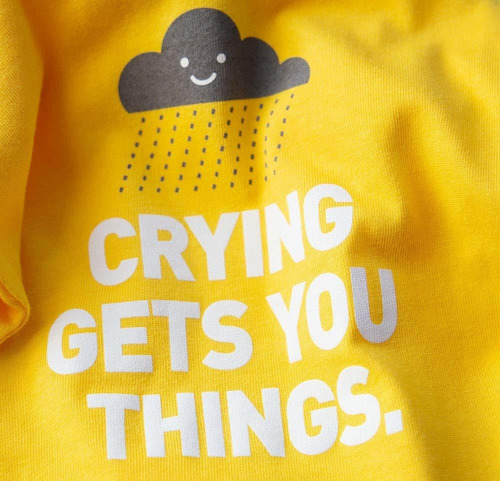 wry bebé  crying gets you cosas snapsuit, 6-12 meses, ama