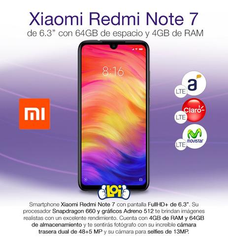 xiaomi note 7 64gb 4gb dual cam 48mp+5mp + estuche loi