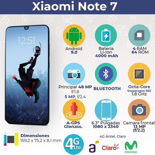 xiaomi note 7 64gb/4gb 48mp cam + funda + auric inala