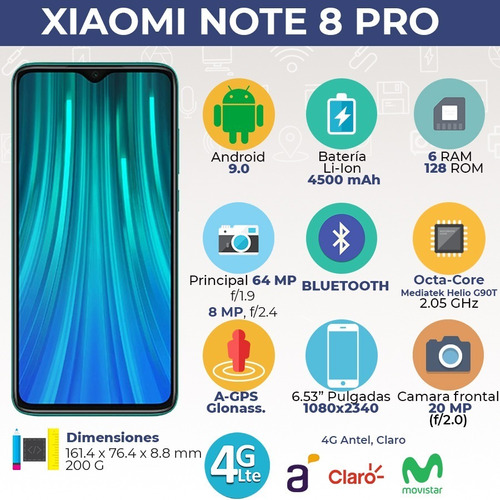 xiaomi note 8 pro 6/128 64mpx + smartwatch + funda