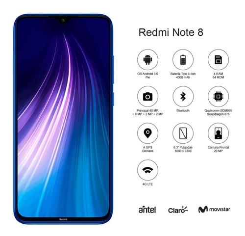 xiaomi redmi note 8 6.3´ 64 / 4gb cám 48/8/2 mpx - cover co