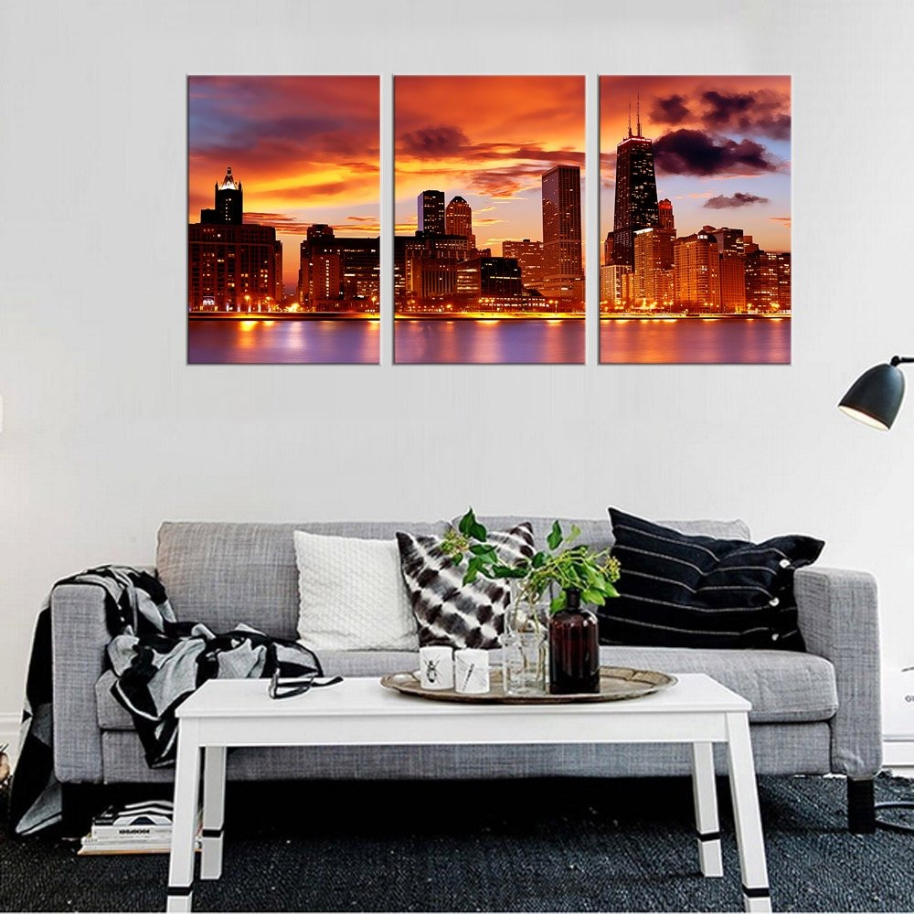 Yearainn Pared Arte Chicago Horizonte Atardecer Lienzo Ar - U$S 196 ...