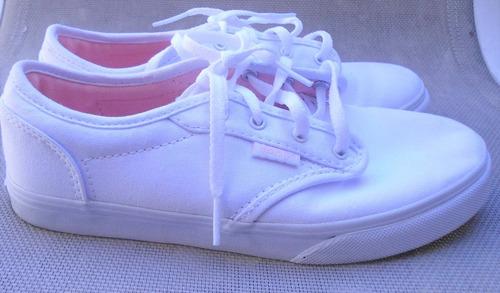 zapatillas vans urbanas blancas tela nena numero 34 nuevas
