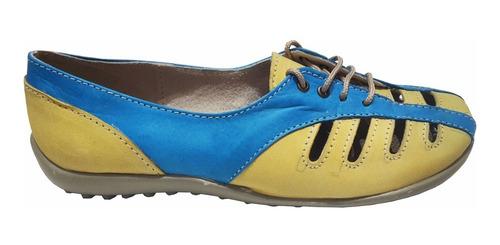 zapatito de cuero marcel calzados (cod.13375) amarillo azul