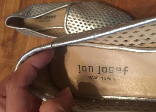 zapatos flats jon josef spain piel finisima plateados!!
